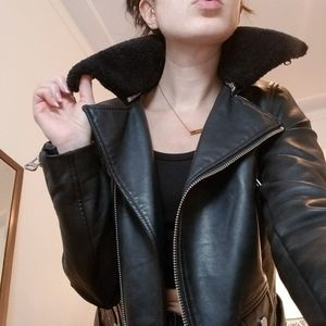 Faux Leather Jacket × Fur Collar🤘